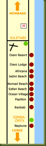 Mombasa - Diani Beach Map